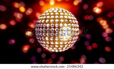 Gold disco ball studded with white diamonds on a multi-colored reflective background - stock photo