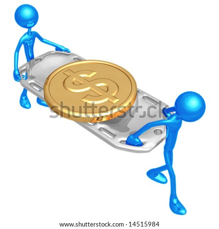 Gold Dollar Coin On Stretcher - stock photo