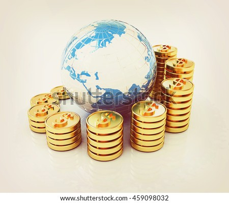 Gold dollar coin stack around the Earth isolated on white . 3D illustration. Vintage style. - stock photo