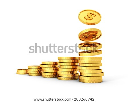 Gold Dollar Coins Growing Graph On White Background. 3d Render Illustration - stock photo