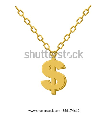 Gold dollar on chain. Decoration for rap artists. Accessory of precious yellow metal to hip hop musicians. - stock photo