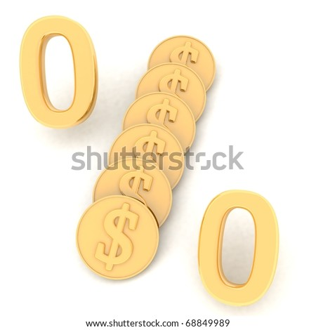 gold dollar percent - stock photo