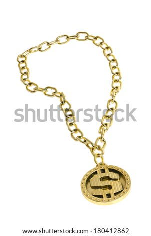 Gold Dollar Sign Bling Necklace - stock photo