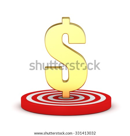 Gold dollar with a target on a white background - stock photo