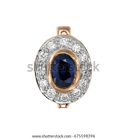 Gold earring with sapphire and diamonds and isolated on white