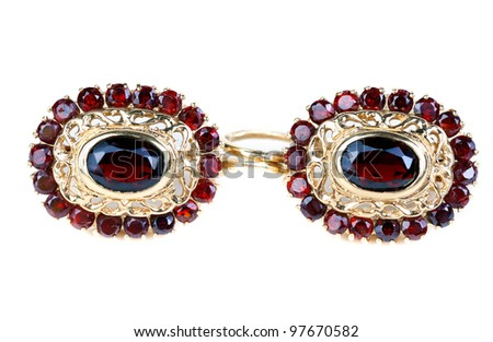 gold earrings with ruby ??isolated on white