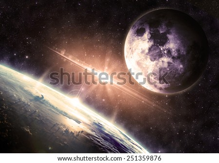 Gold Earth and Moon - Elements of this Image Furnished by NASA - stock photo
