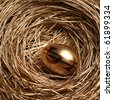 Gold egg in a gold nest - stock photo