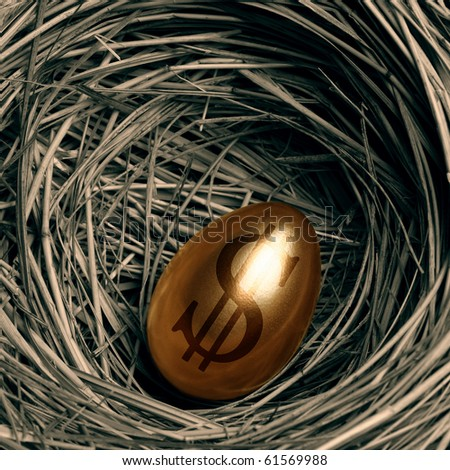 Gold egg in a nest - stock photo