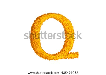 Gold Embroidery Designs alphabet Q isolate on white background