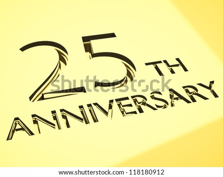 gold engraving of 25th anniversary words, for celebrations. 3d render. - stock photo