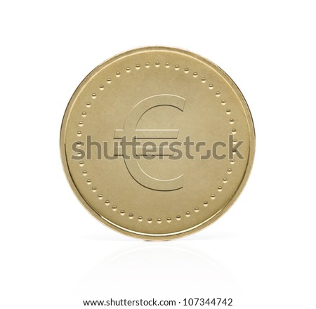 Gold euro coin isolated on white background