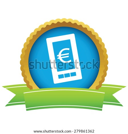 Gold euro phone logo on a white background - stock photo