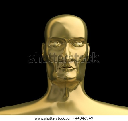 Gold face with isolated black background. 3D image