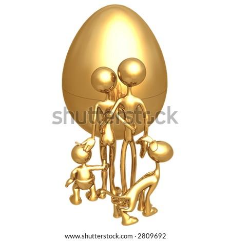 Gold Family Nest Egg - stock photo
