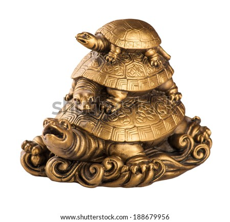 Gold feng-shui turtles, isolated on white background