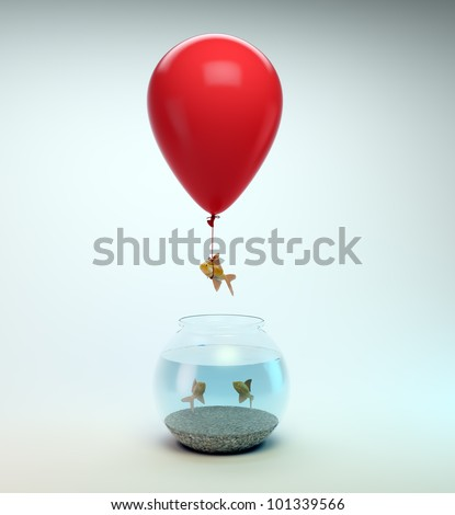 Gold fish flying away from a fishbowl with the help of a balloon - stock photo