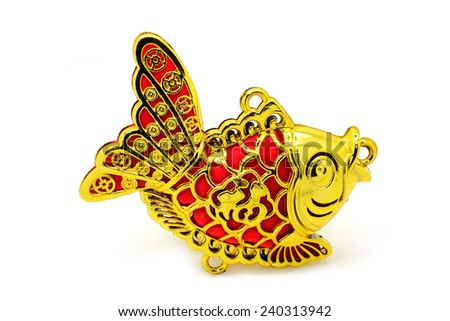 Gold fish for Chinese new year decorations. - stock photo
