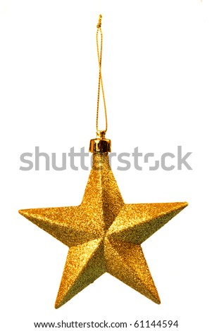 Gold five pointed star christmas decoration for haging on tree - stock photo