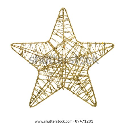 Gold five pointed star christmas decoration isolated on white background - stock photo