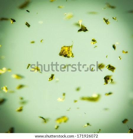 Gold Flakes in Liquid.abstract background - stock photo
