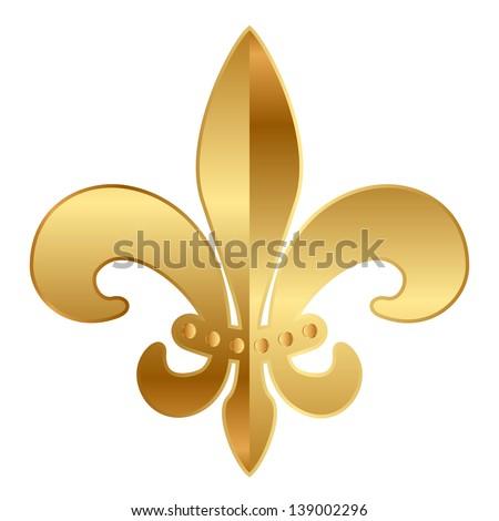 Gold  Fleur-de-lis ornament - stock photo