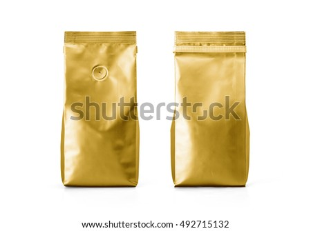 Gold Foil plastic paper bag front and back view isolated on white background. Packaging template mockup collection. With clipping Path included. Aluminium coffee package.