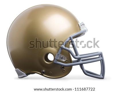 Gold football helmet isolated on white - stock photo