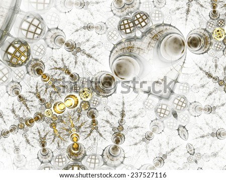 Gold fractal heart, valentine's day motive, digital artwork for creative graphic design - stock photo