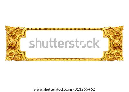 gold frame ancient isolated on white background. - stock photo