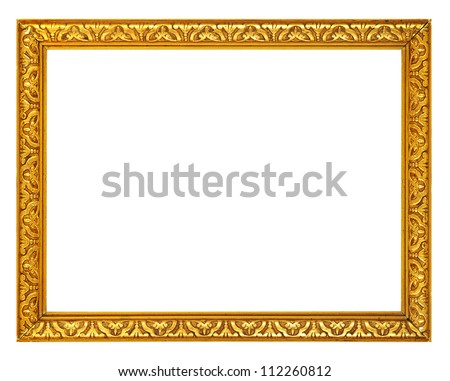 Gold frame. Gold/gilded arts and crafts pattern picture frame. Isolated on white - stock photo