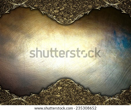 Gold frame in the sand on metal background. Template Design. - stock photo