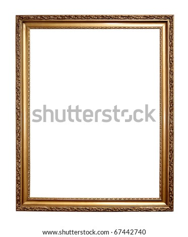 Gold frame isolated on a white background - stock photo
