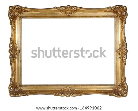 Gold frame isolated on white - stock photo