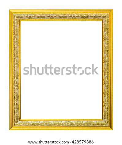 Gold frame on a white background - stock photo