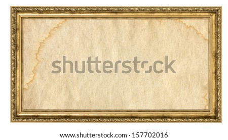 gold frame with empty stained background isolated on white  - stock photo