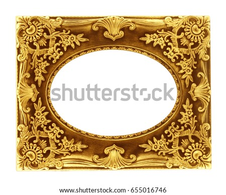Gold frame wood  isolated on white background.