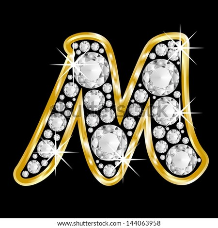 Gold Framed Alphabet Letter M Filled With Diamonds On Black Background