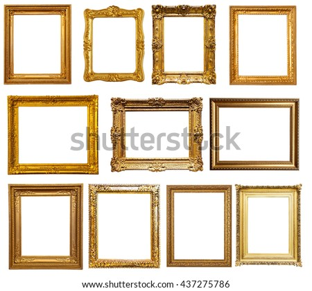 gold frames. Isolated over white, may be used for photo - stock photo