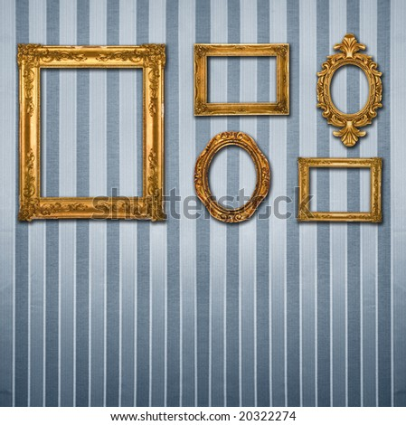 Gold frames, retro wallpaper, similar available in my portfolio - stock photo