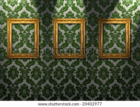 Gold frames, retro wallpaper, spotlights from above, similar available in my portfolio