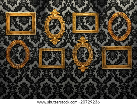 Gold frames, retro wallpaper, spotlights from above,similar available in my portfolio - stock photo