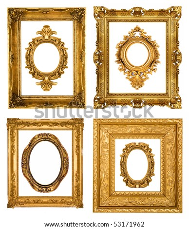 Gold frames, similar sets available in my portfolio - stock photo