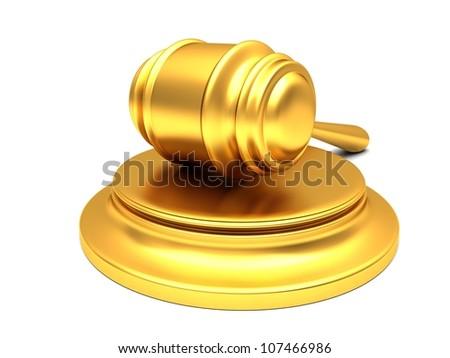 Gold gavel isolated on white background - stock photo