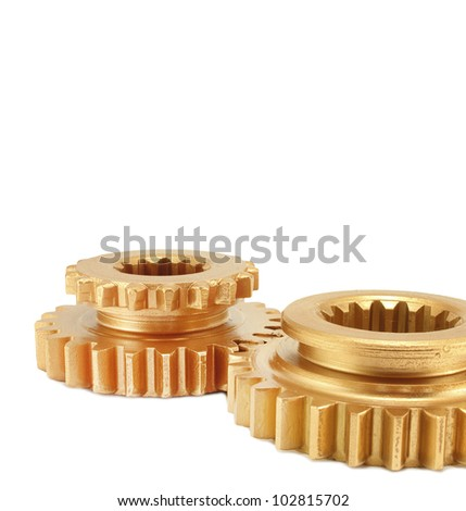 gold  gear isolated on white background