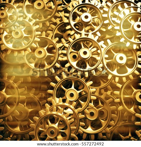 Gold gears and cogs macro. 3D
