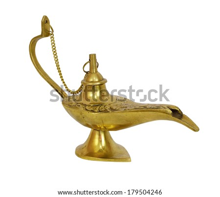 Gold genie lamp. Isolated on white background