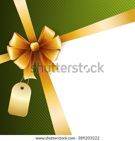 Gold  gift bow and ribbon - stock photo