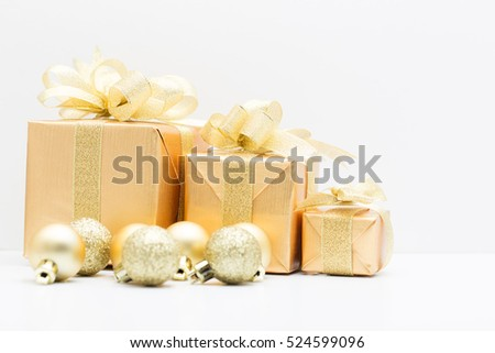 Gold gift box for Christmas festival