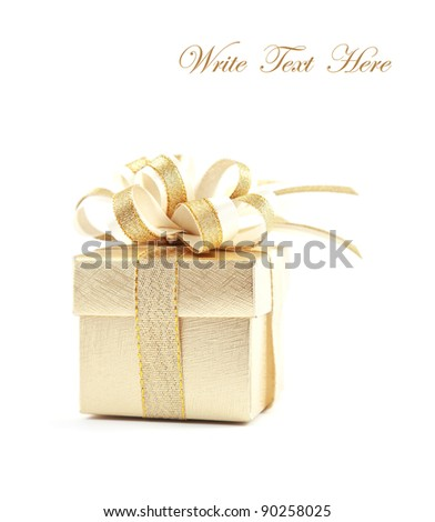Gold gift box over white background - stock photo